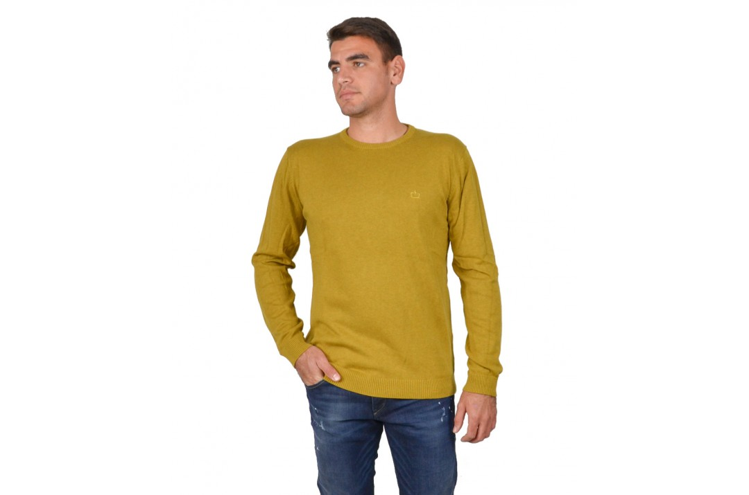 EMERSON COTTON KNITTED SWEATER 192.EM70.90-OCHRE ML Κίτρινο