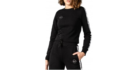 GSA NEVER QUIT CREW NECK CROP TOP 17-2025-01 JET BLACK Μαύρο