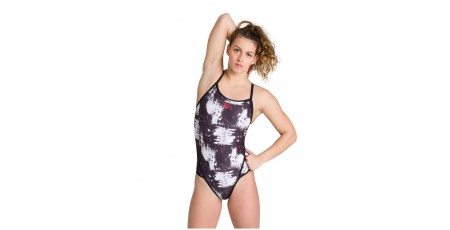 ARENA W CAMO CLOUDS SUPERFLY BACK ONE PIECE 003496-500 Λευκό-Μαυρο