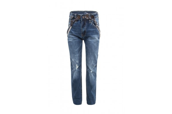 FUNKY BUDDHA DENIM PANTS WITH SUSPENDERS FBB362-02219-DK BLUE Μπλε
