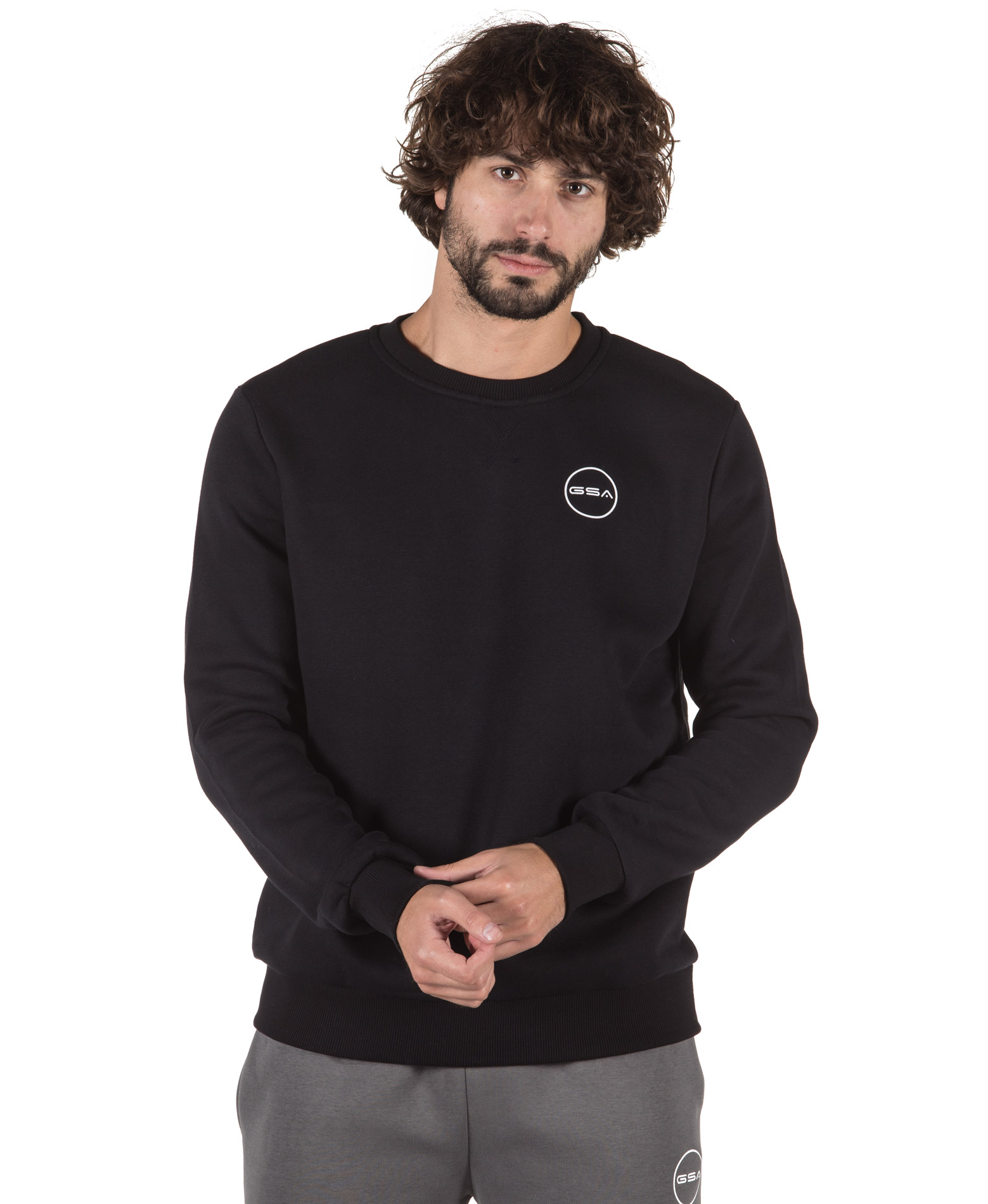 GSA SUPERCOTTON LONG SLEEVE CREW NECK 17-17025-01 JET BLACK Μαύρο