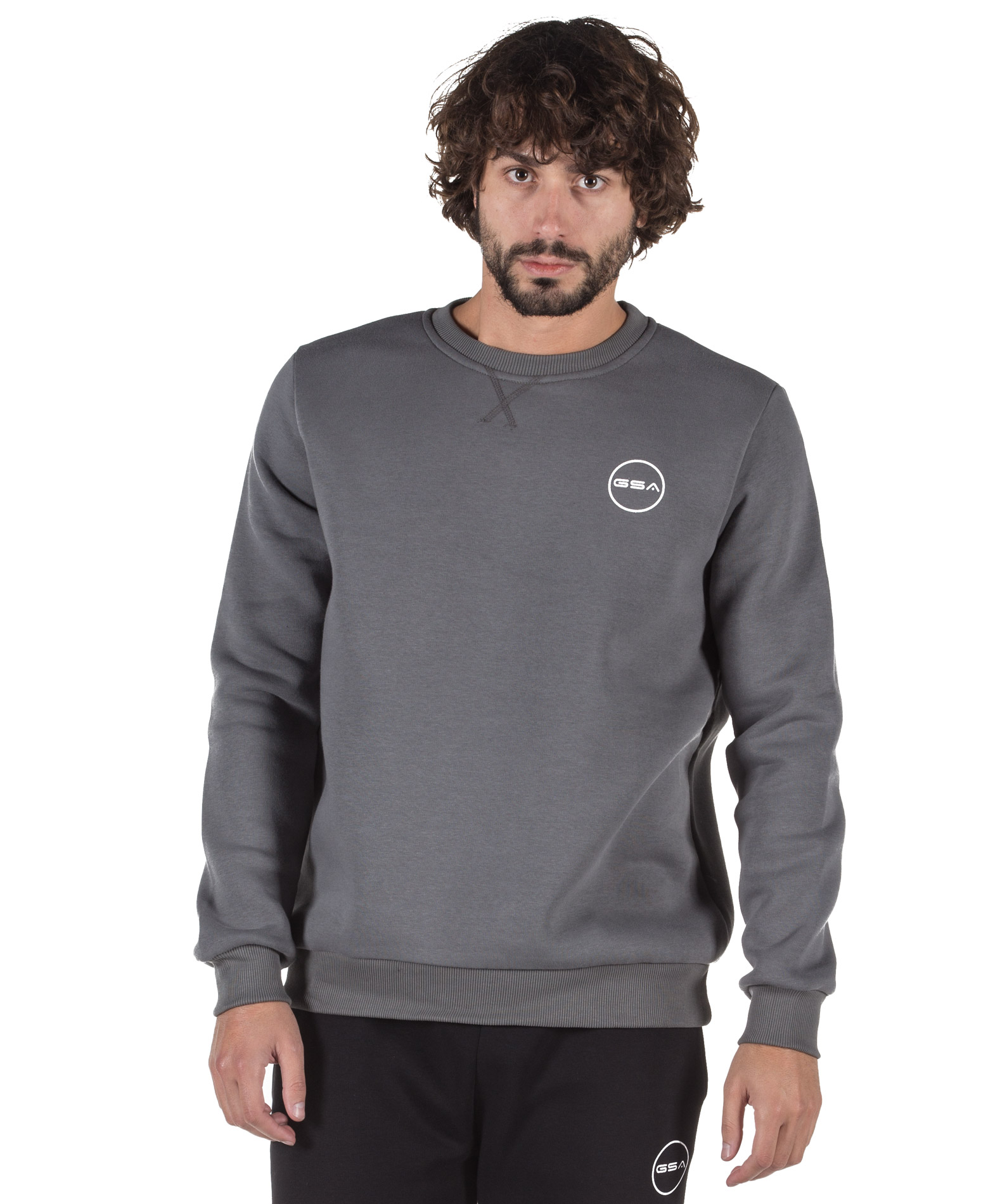 GSA SUPERCOTTON LONG SLEEVE CREW NECK 17-17025-06 CHARCOAL Ανθρακί