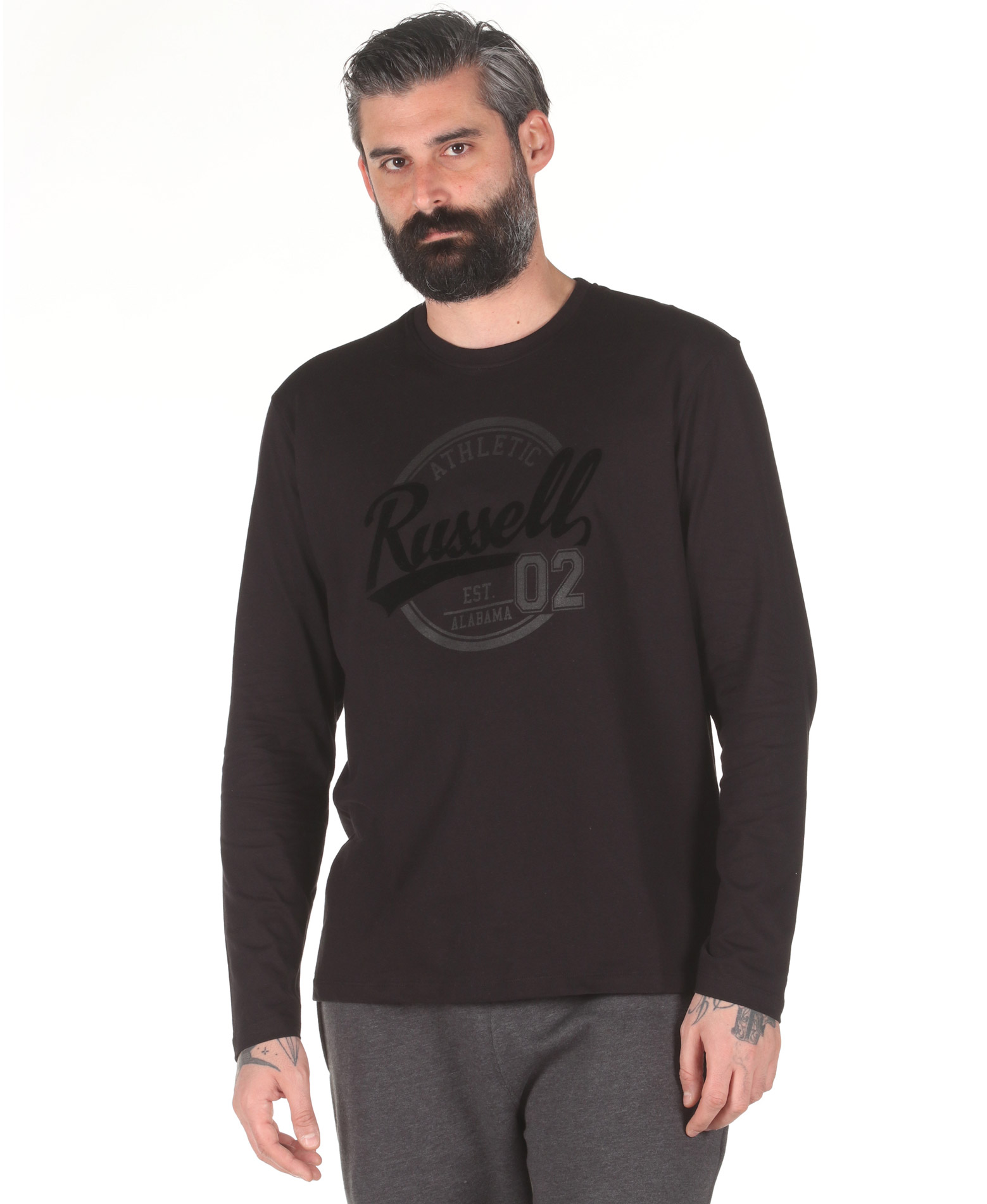 Russell Athletic COLLEGIATE – L/S CREWNECK TEE A0-030-2-099 Μαύρο