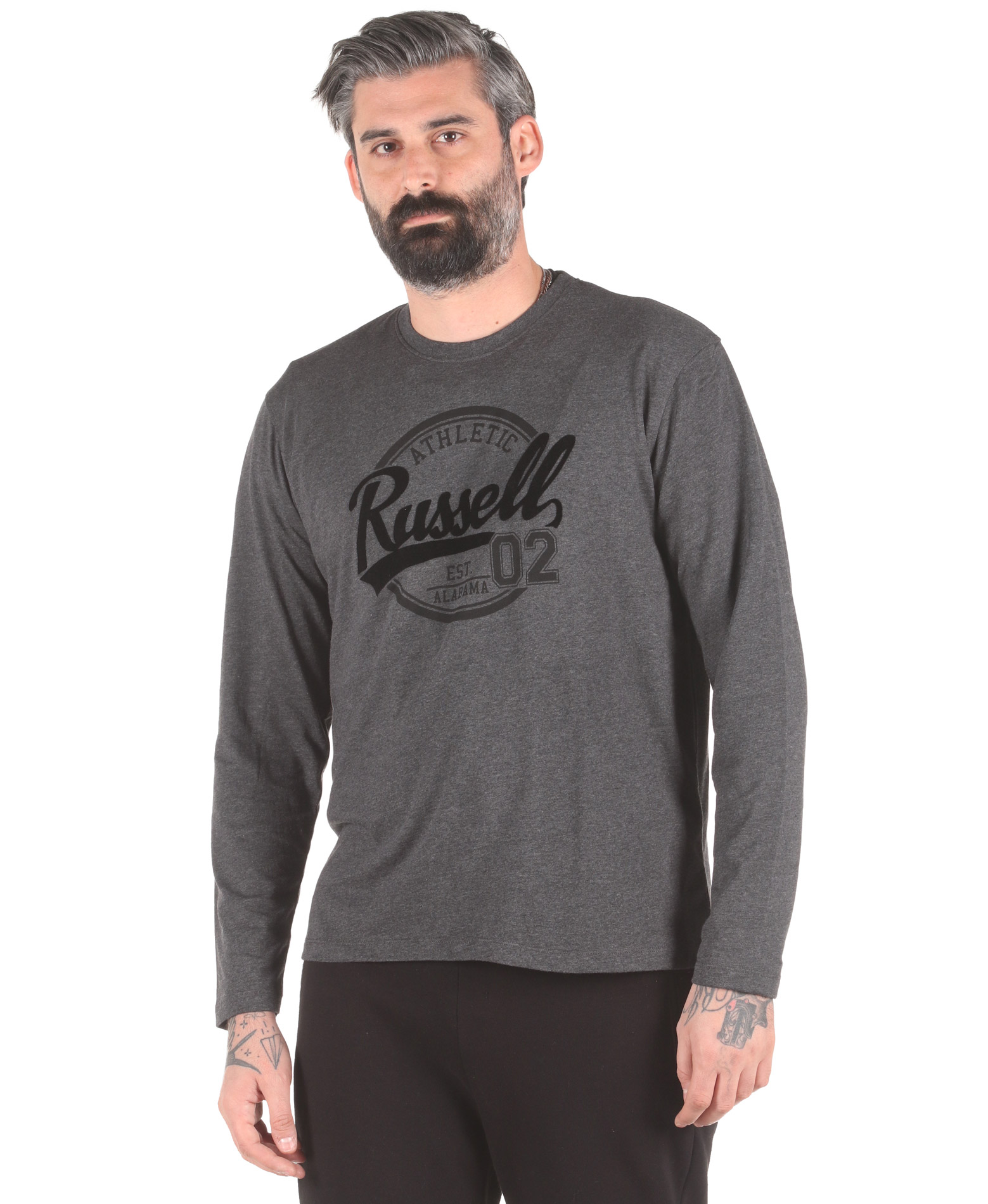 Russell Athletic COLLEGIATE – L/S CREWNECK TEE A0-030-2-098 Ανθρακί