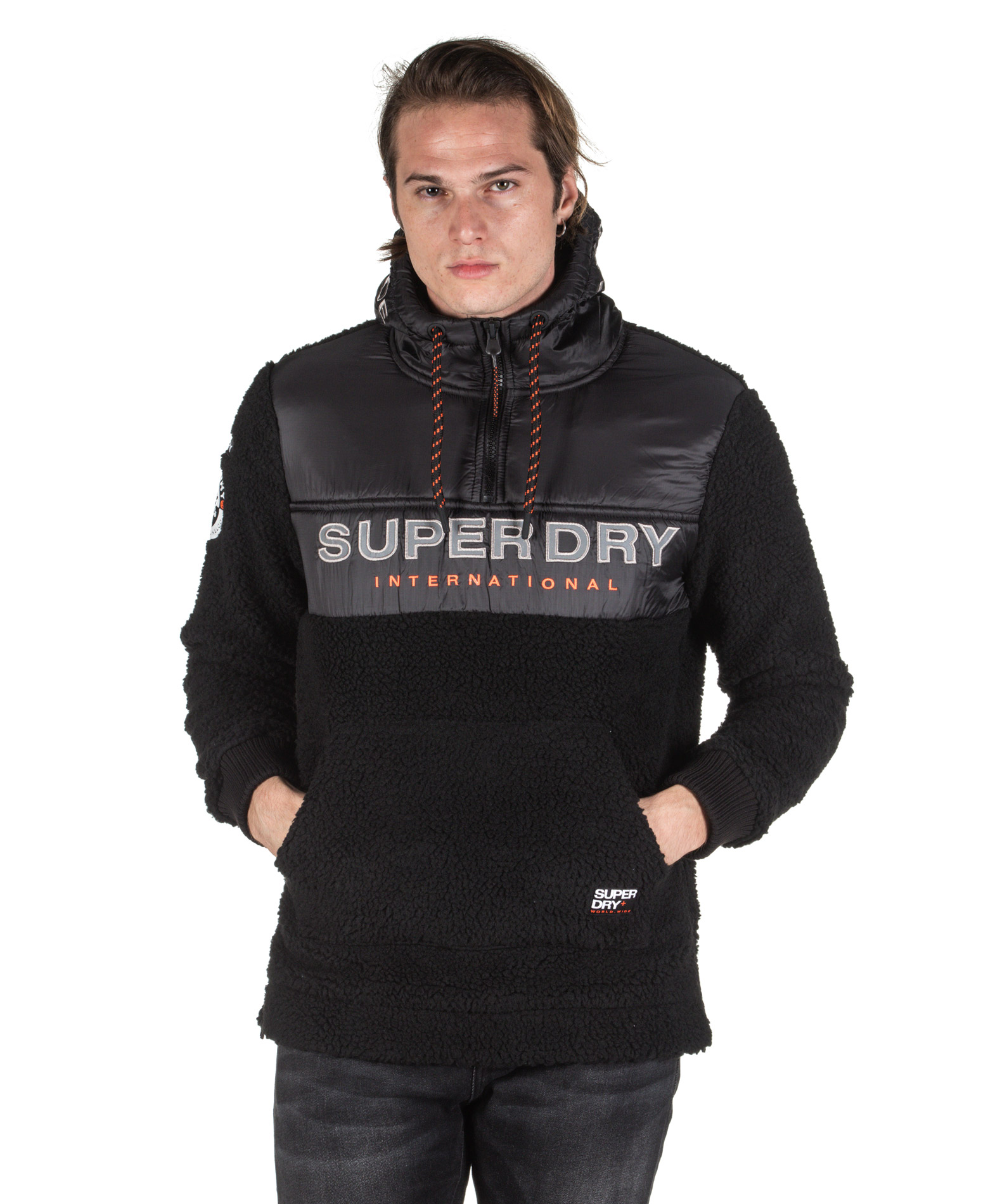 SUPERDRY SHERPA WORLDWIDE STEALTH HALF ZIPHOOD M2000037A-AZB Μαύρο