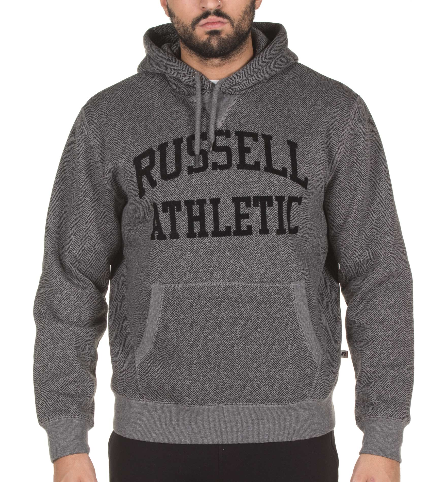 RUSSELL ATHLETIC PULL OVER WITH CHEVRON PRINT HOODIE A7-016-2-090 Γκρί