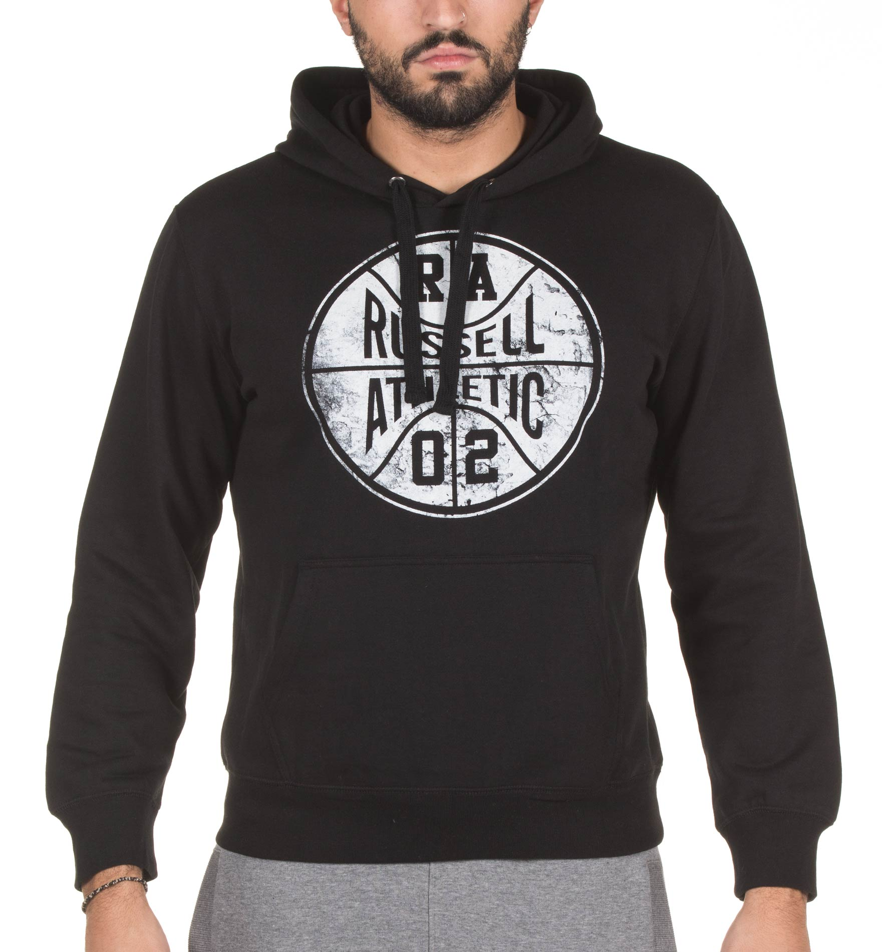 RUSSELL ATHLETIC PULL OVER HOODIE SWEAT A7-067-2-099 Μαύρο ανδρας   ενδύματα   μπλούζες