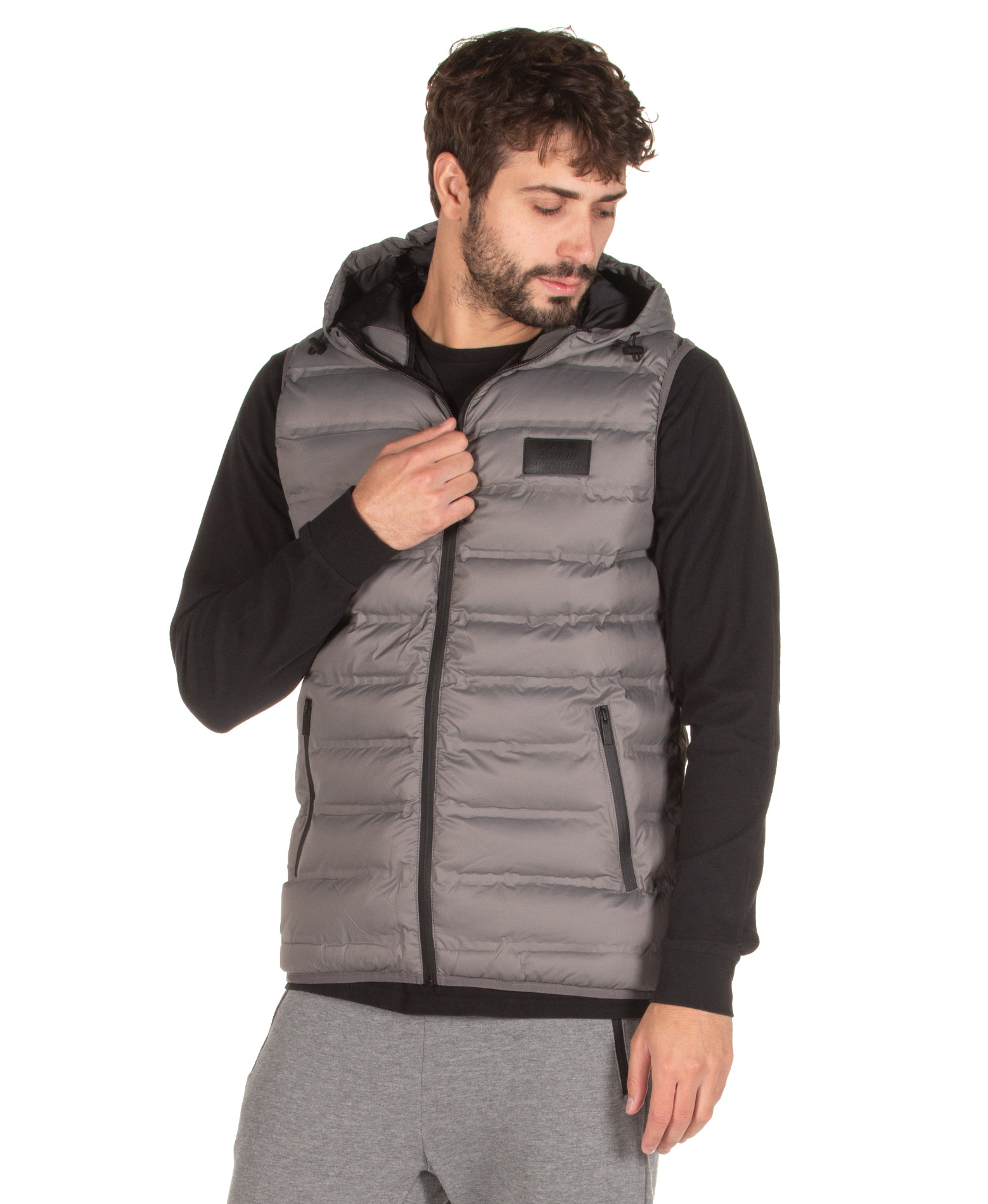 BODY ACTION ZIP-THROUGH QUILTED VEST WITH HOOD 073925-01-03 Γκρί