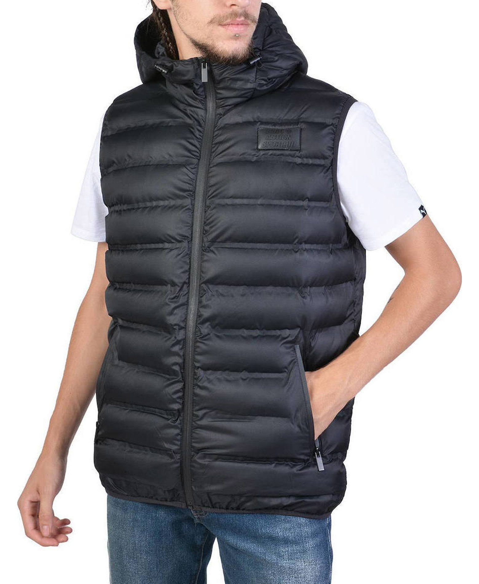 BODY ACTION ZIP-THROUGH QUILTED VEST WITH HOOD 073925-01-01 Μαύρο