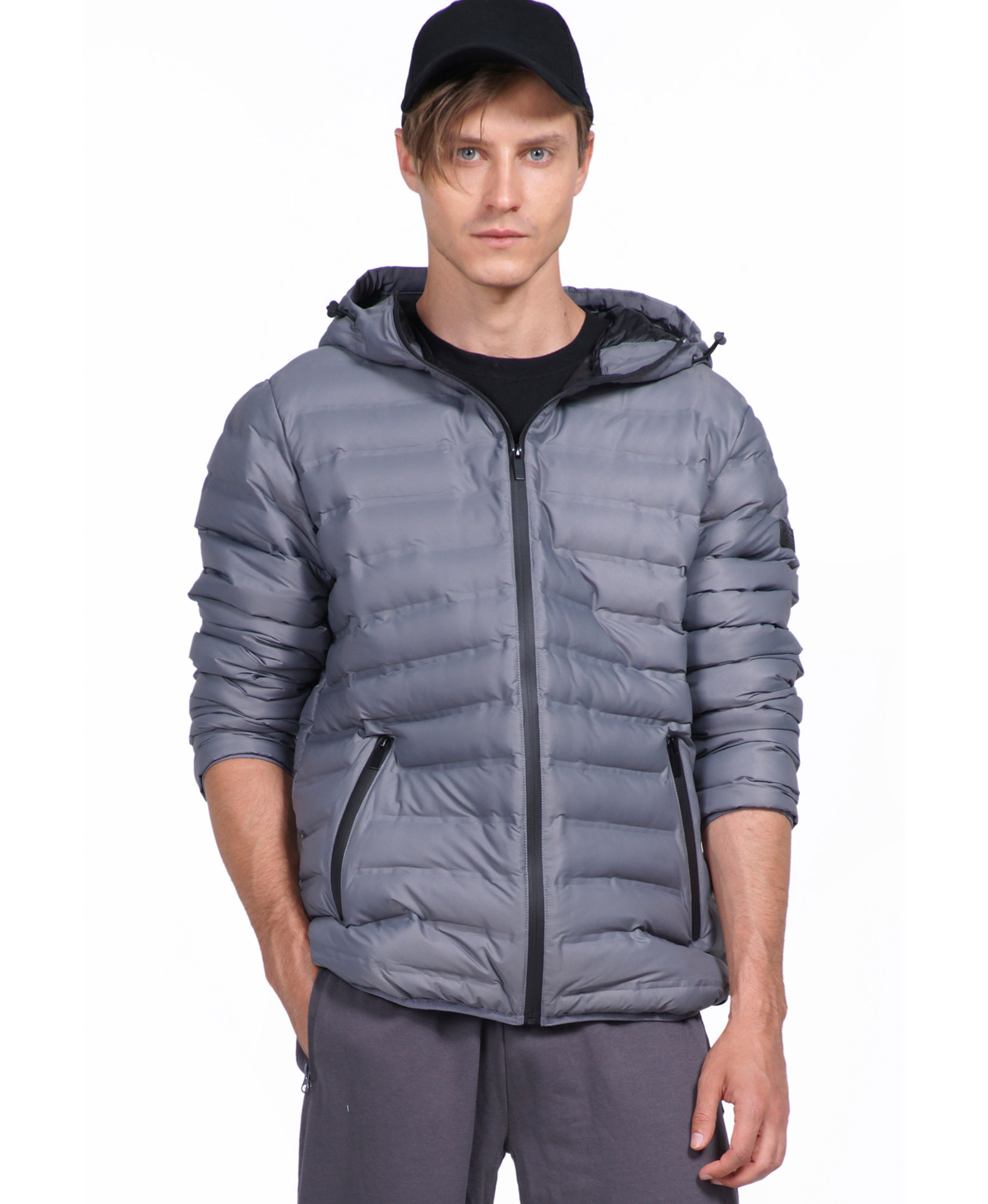 BODY ACTION MEN QUILT PADDED JACKET WITH HOOD 073926-01-03 Γκρί