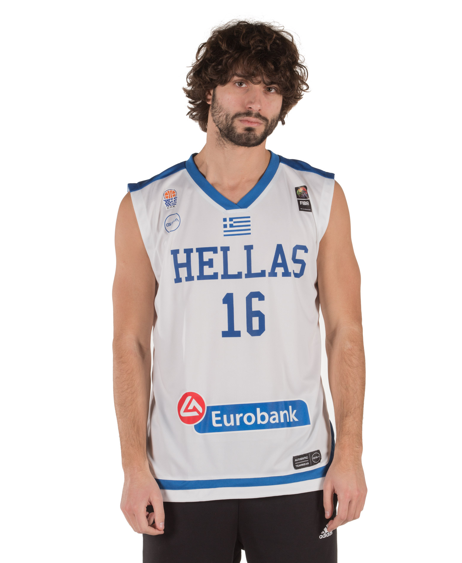GSA GAME SHIRT HELLAS BASKETBALL PAPANIKOLAOU 17-17080 Λευκό