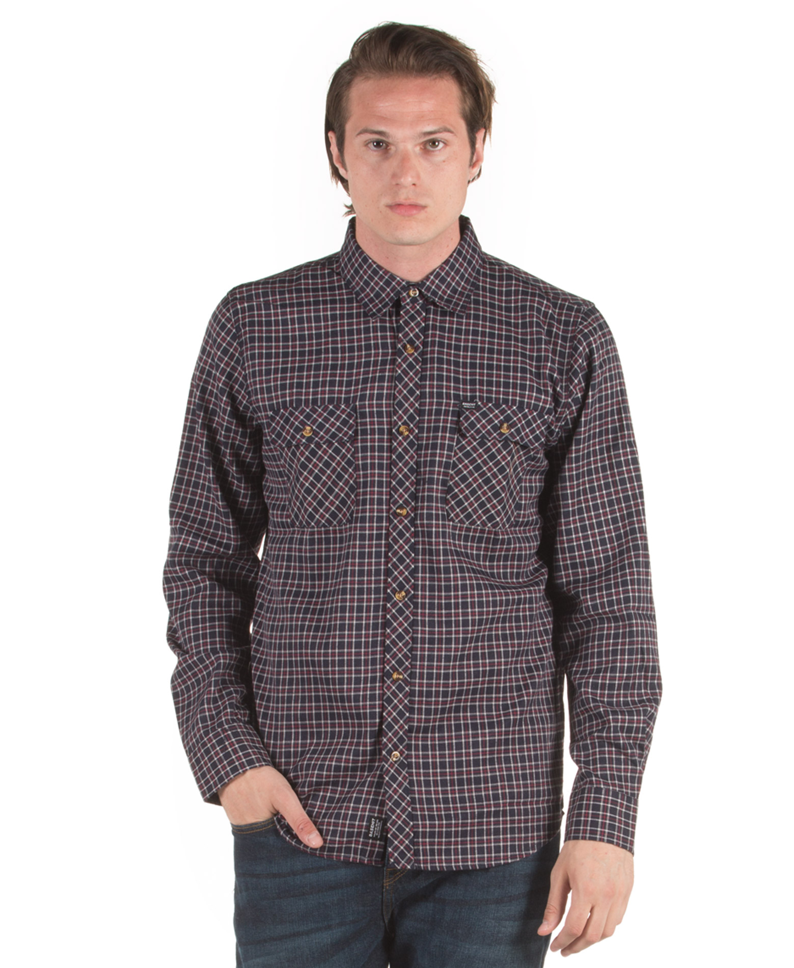 BASEHIT CHECKED POCKET SHIRTS 182.BM60.82-BH5 NAVY/RED Μπλέ