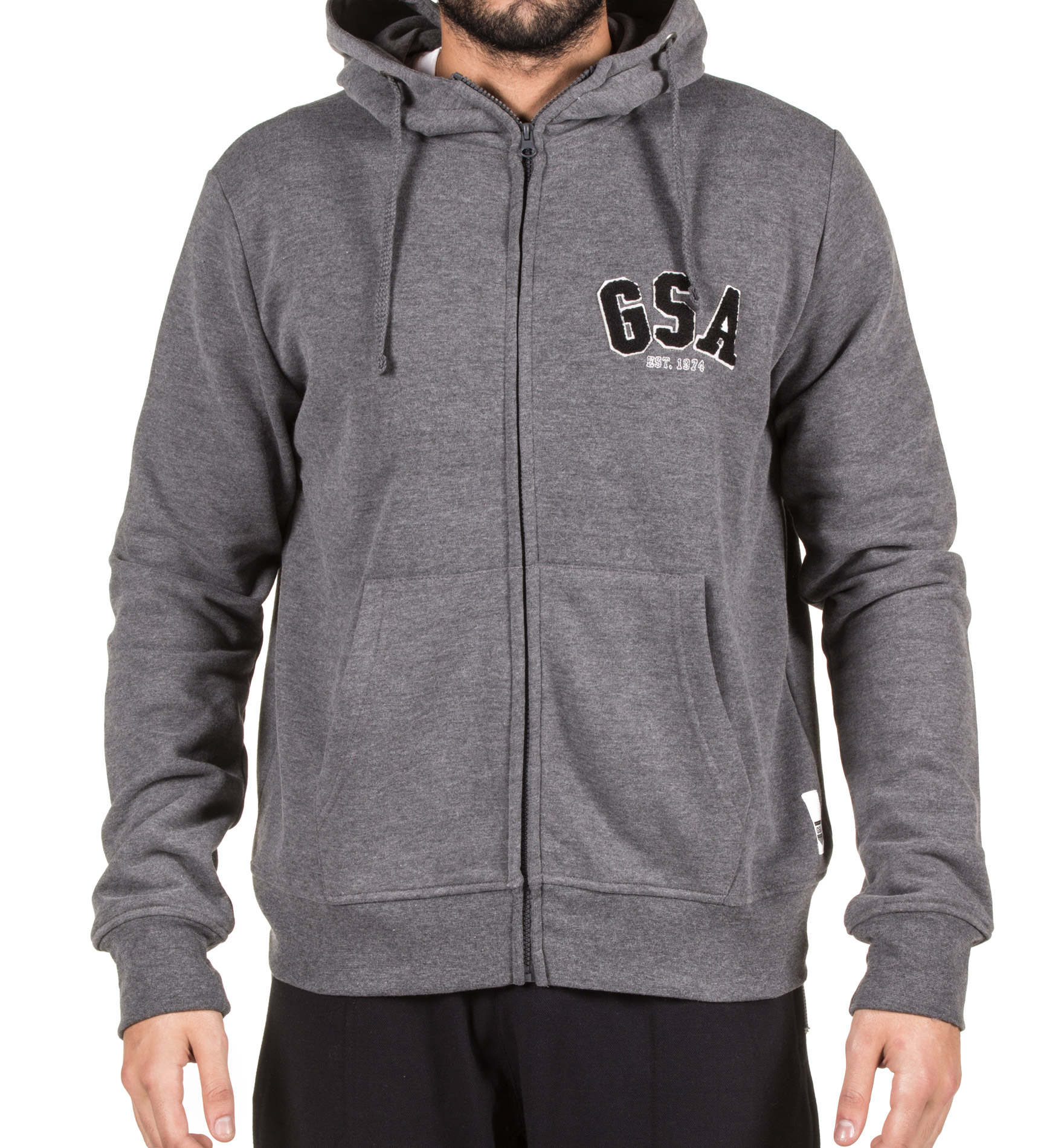 GSA MEN ZIPPER HOODIE 37-17009-CHARCOAL Ανθρακί