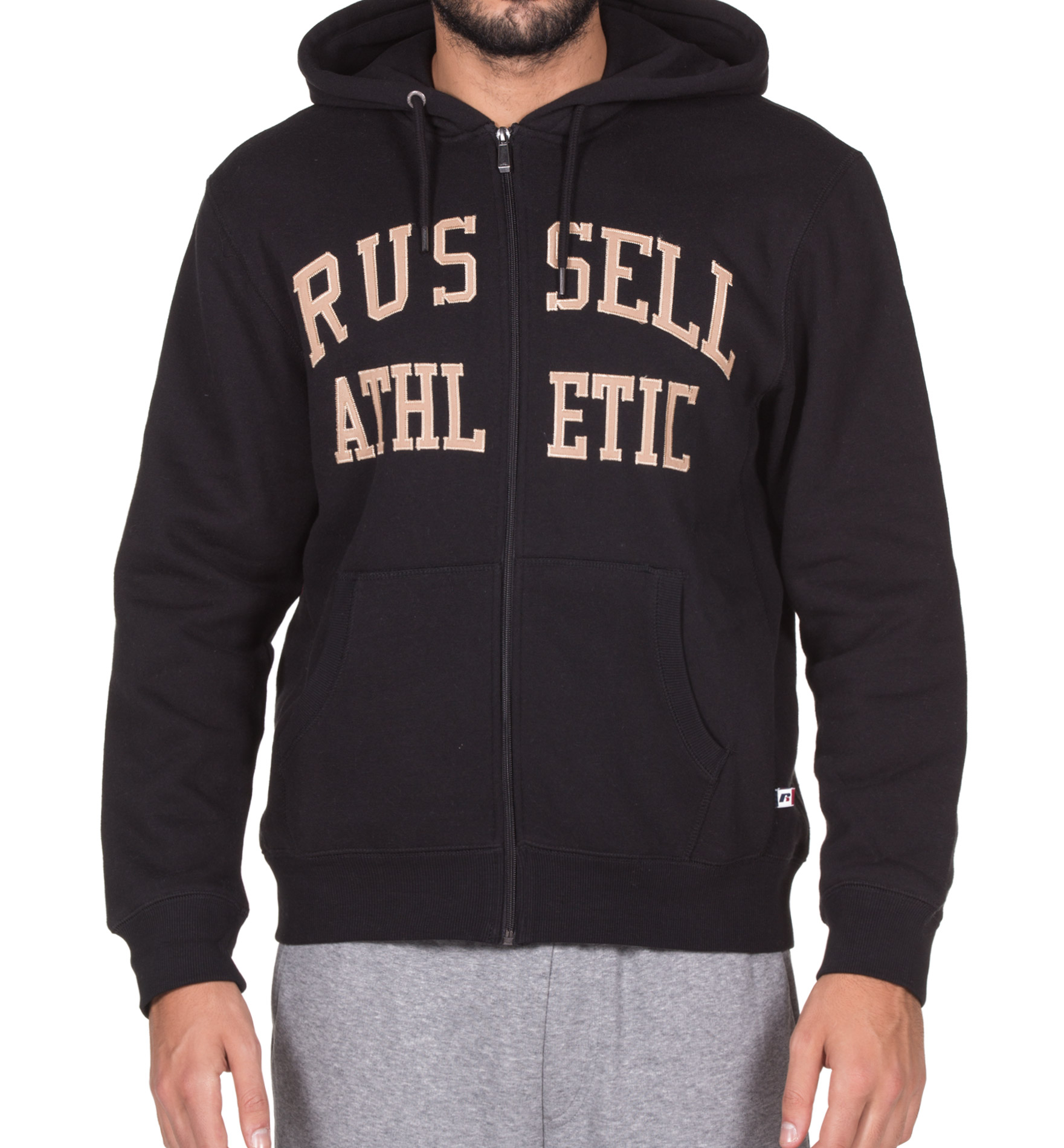 RUSSELL ATHLETIC ZIP THROUGH TACKLE TWILL HOODY A7-007-2-099 Μαύρο
