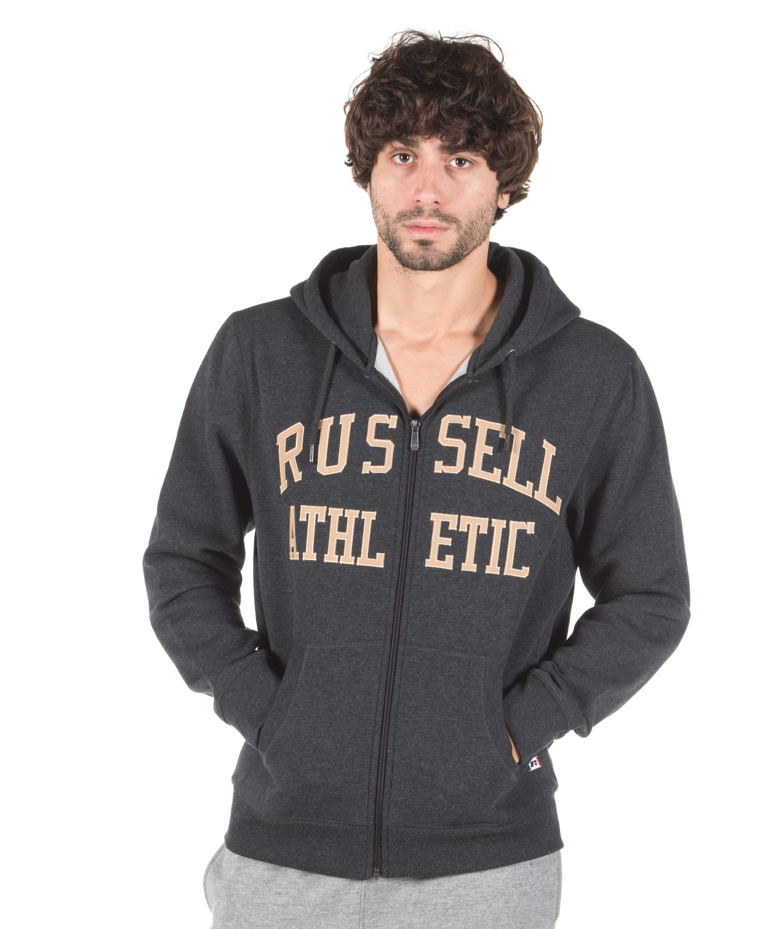 RUSSELL ATHLETIC ZIP THROUGH TACKLE TWILL HOODY A7-007-2-098 Ανθρακί