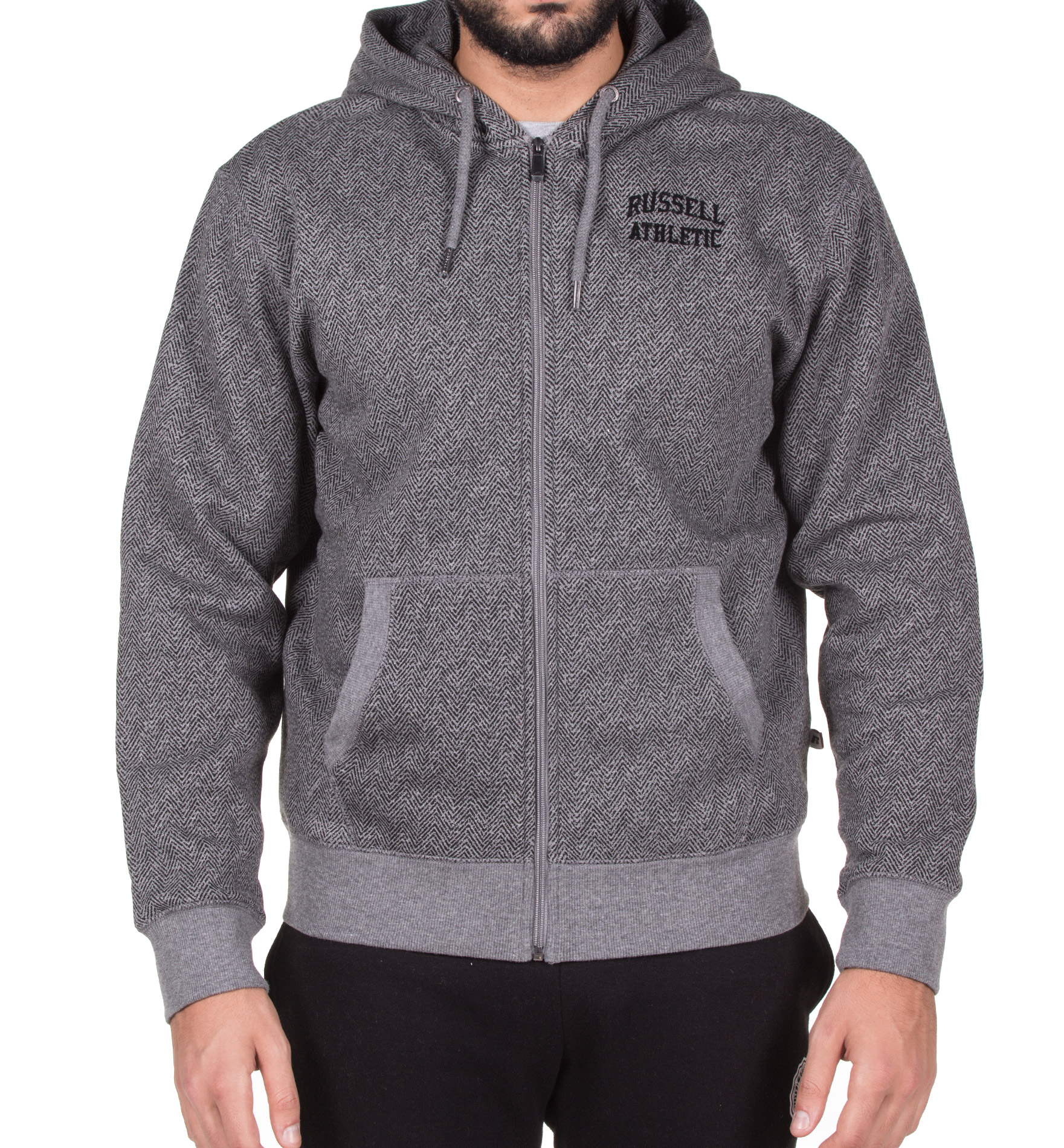 RUSSELL ATHLETIC ZIP THROUGH WITH CHEVRON PRINT HOODIE A7-017-2-090 Γκρί