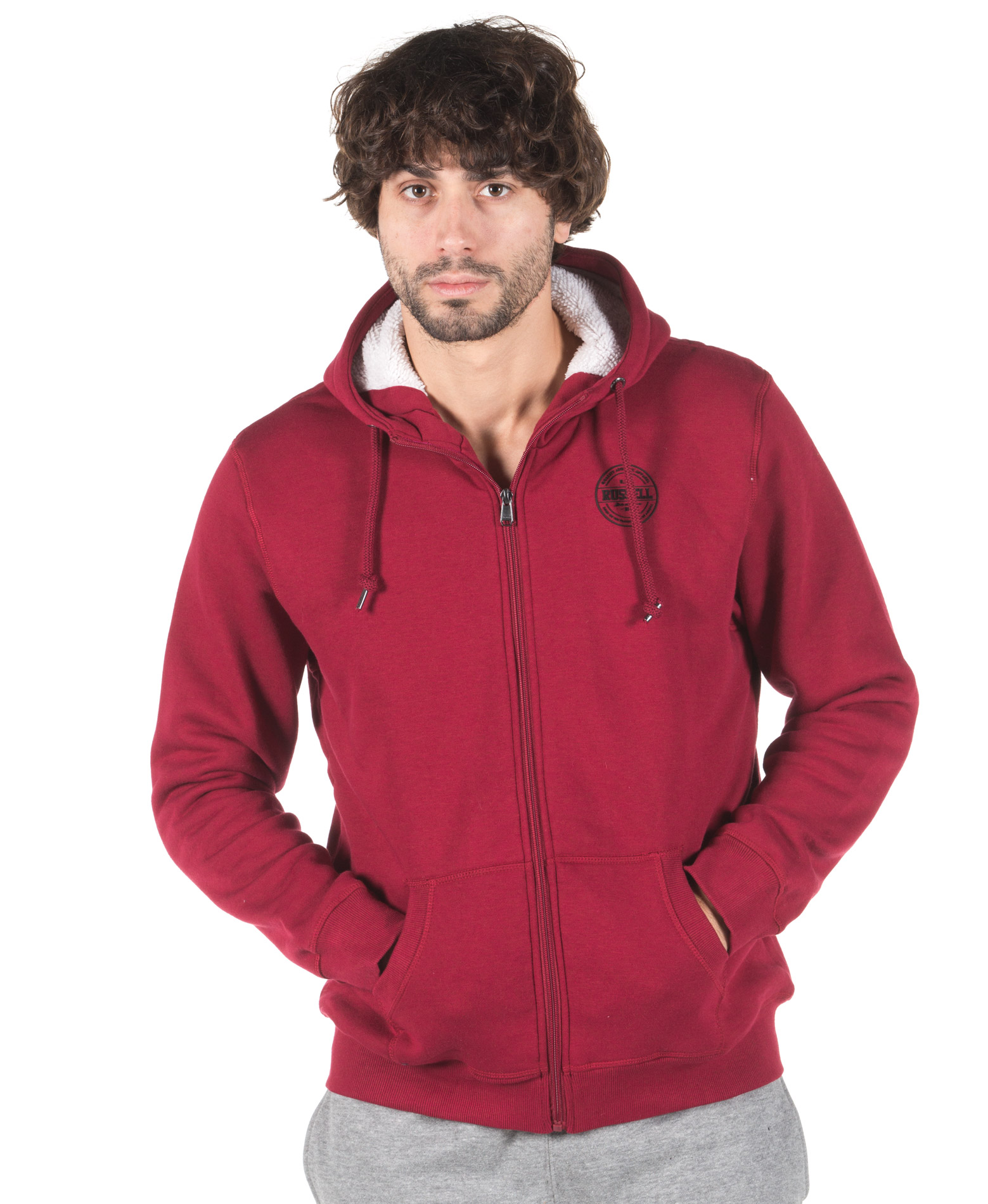 RUSSELL ATHLETIC ZIP THROUGH SHERPA LINED HOODY A7-028-2-441 Μπορντό