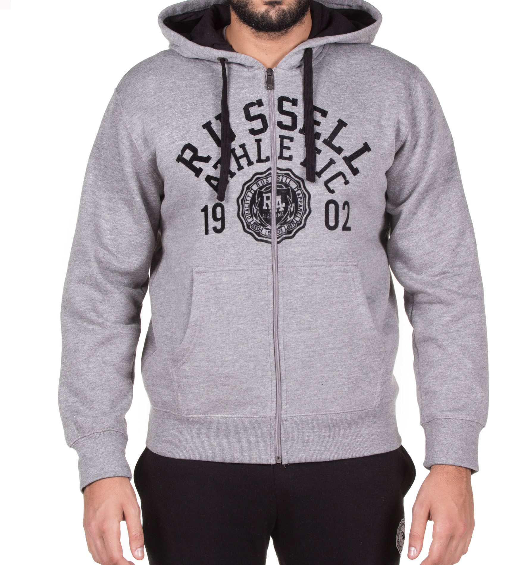 RUSSELL ATHLETIC ZIP THROUGH HOODY WITH ROSETTE FLOCK PRINT A7-703-2-090 Γκρί