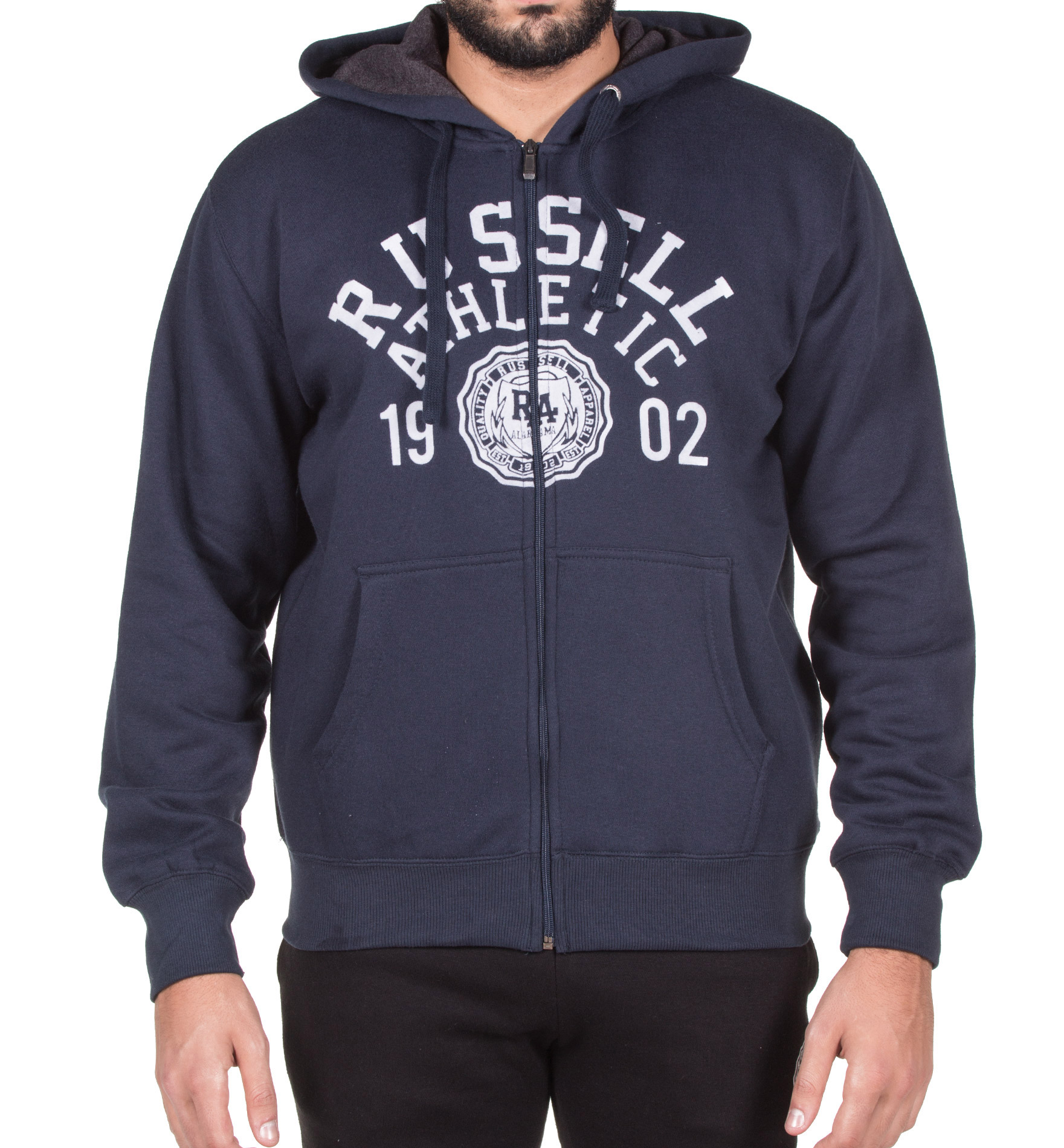 RUSSELL ATHLETIC ZIP THROUGH HOODY WITH ROSETTE FLOCK PRINT A7-703-2-190 Μπλε