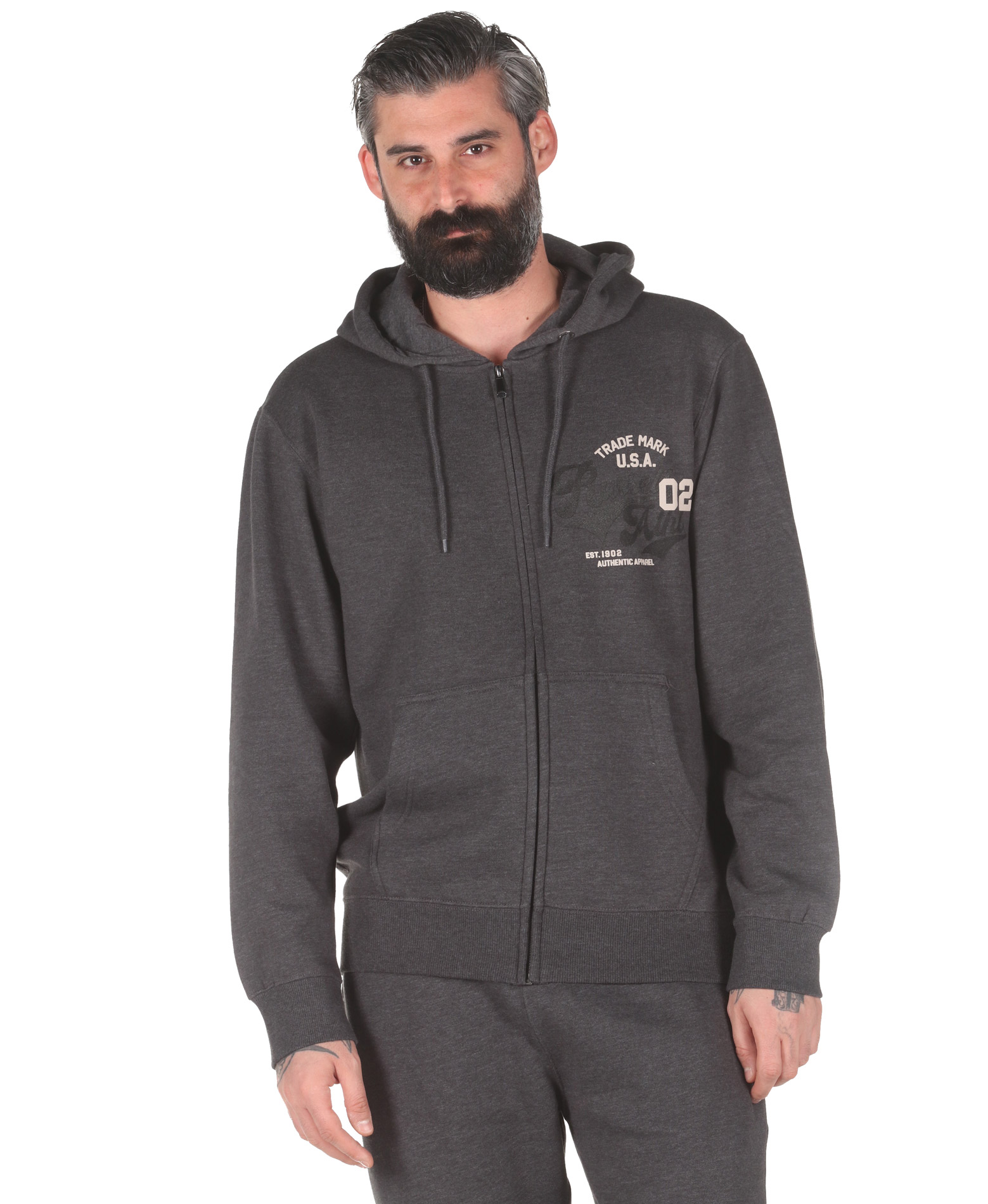 Russell Athletic TRADE MARK USA – ZIP THROUGH HOODY A0-027-2-098 Ανθρακί