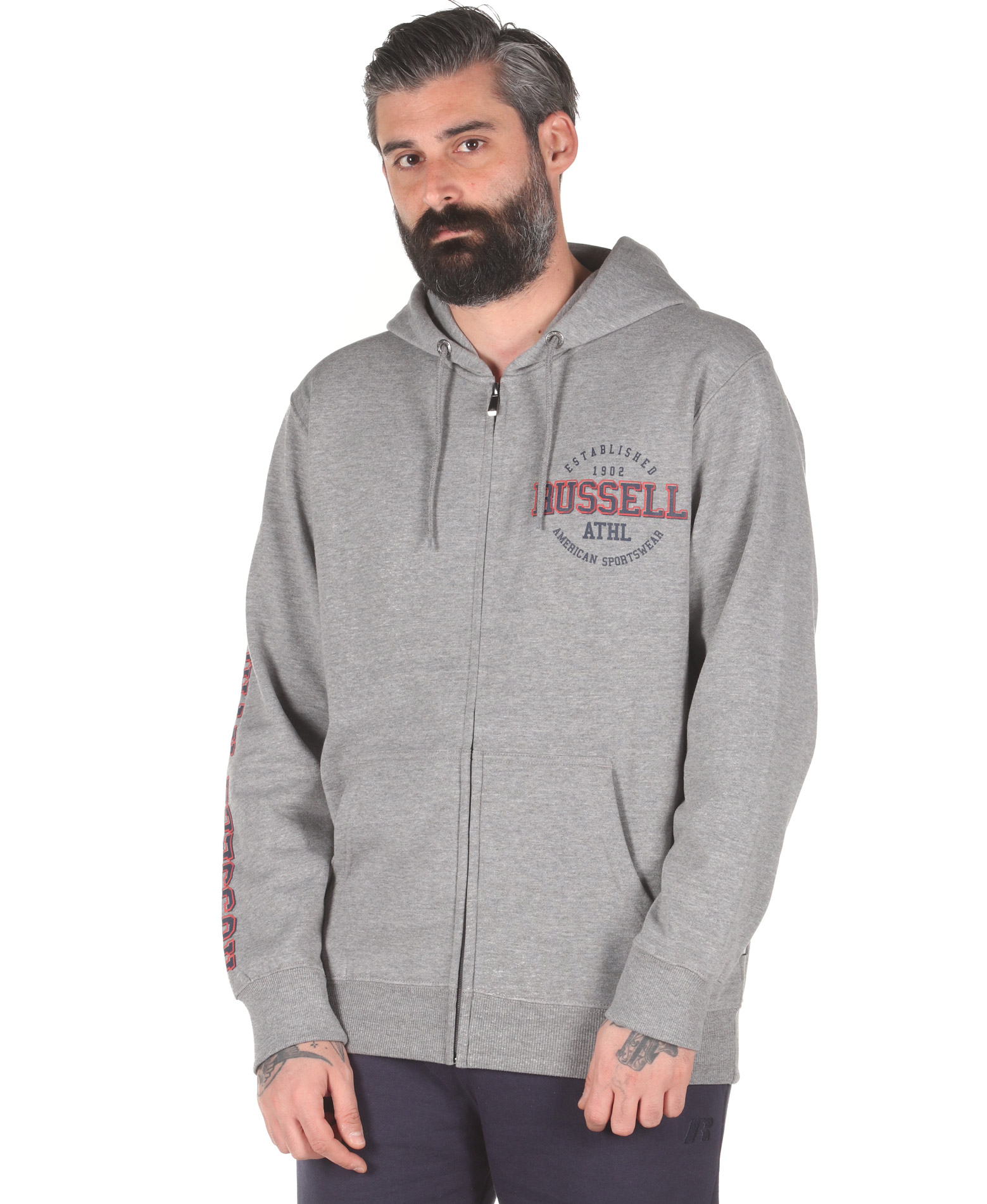 Russell Athletic ZIP THROUGH HOODY A0-017-2-090 Γκρί