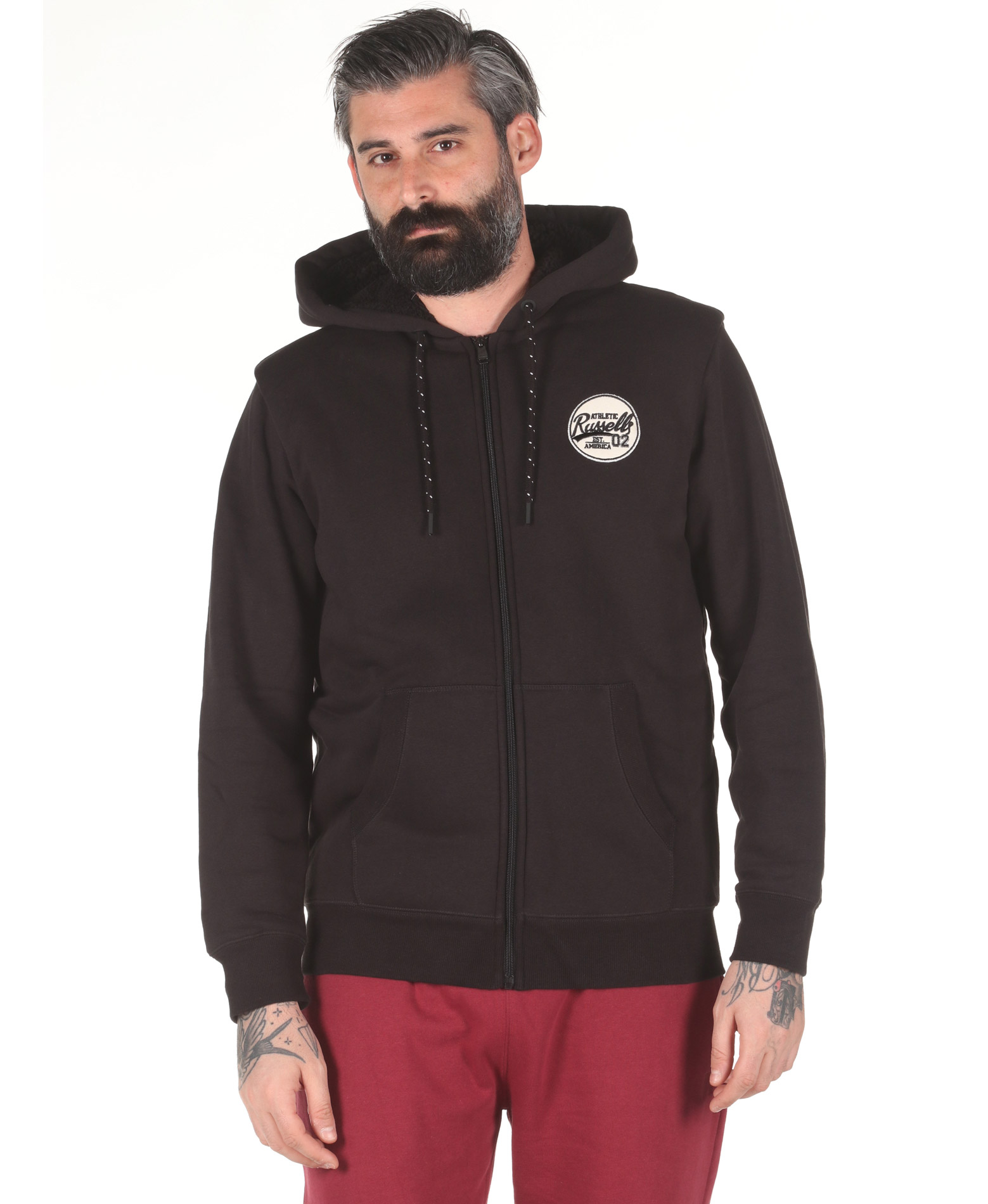Russell Athletic ZIP THROUGH HOODY A0-041-2-099 Μαύρο