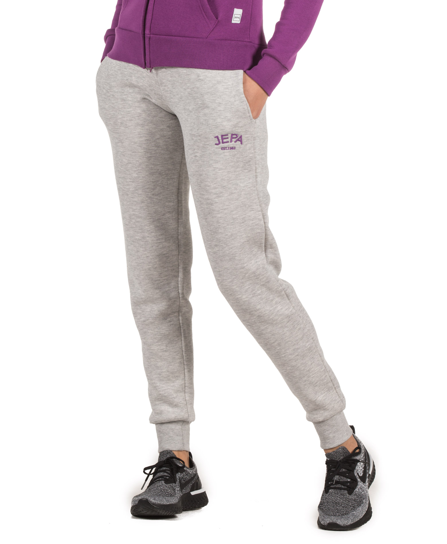 JEPA WMN JOGGING PANTS WITH EMBROIDERY 27-28022-GREY MELANGE Γκρί