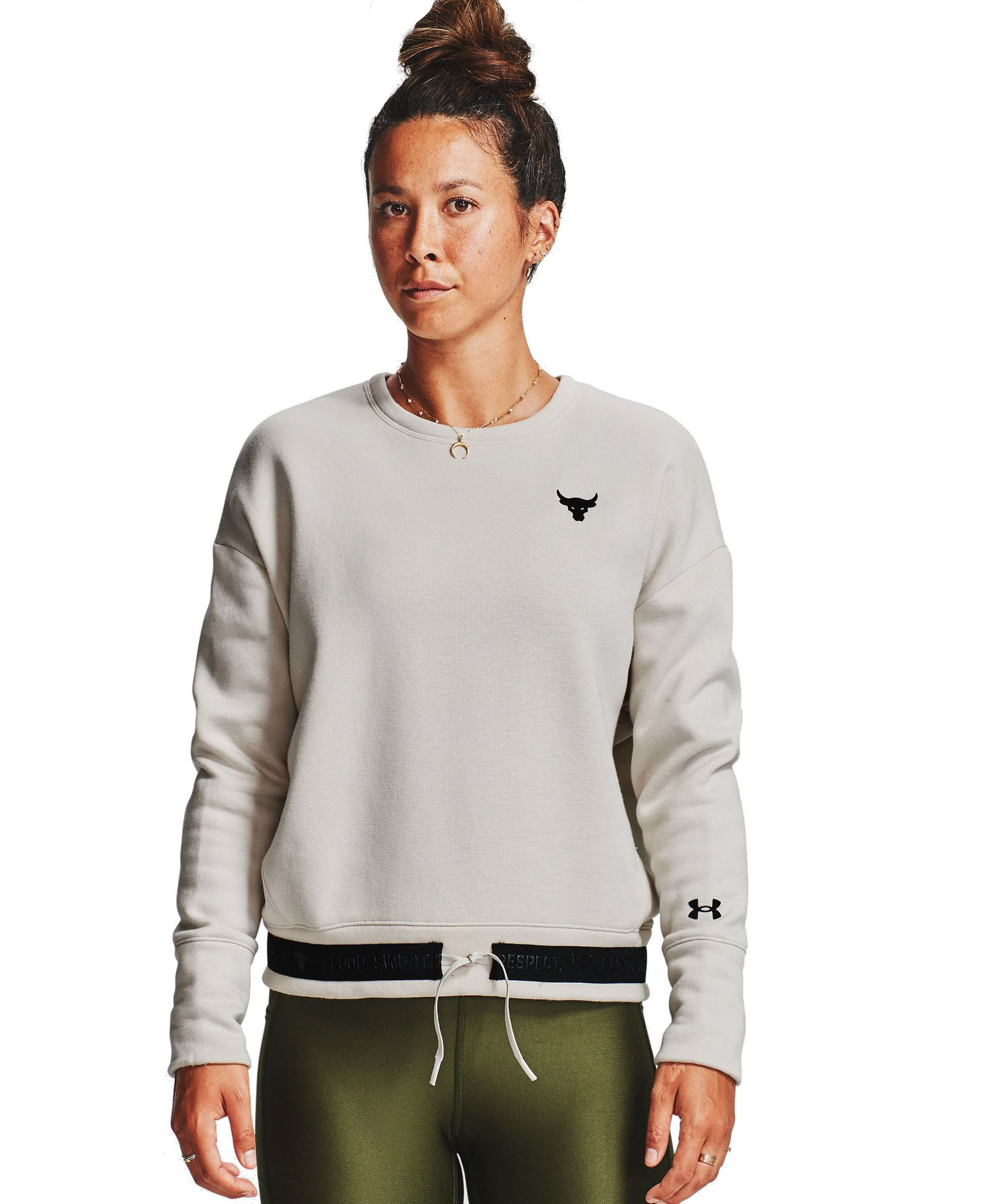UNDER ARMOUR PRJCT ROCK CC FLEECE CREW SWEATER 1357059-110 Εκρού