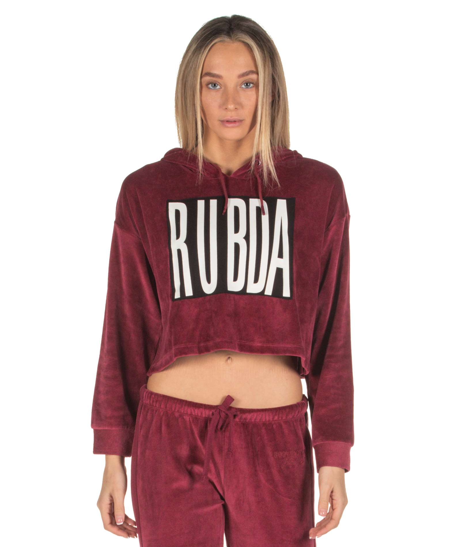BODY ACTION VELOUR CROPPED HOODIE 061840-01-08D Μπορντό