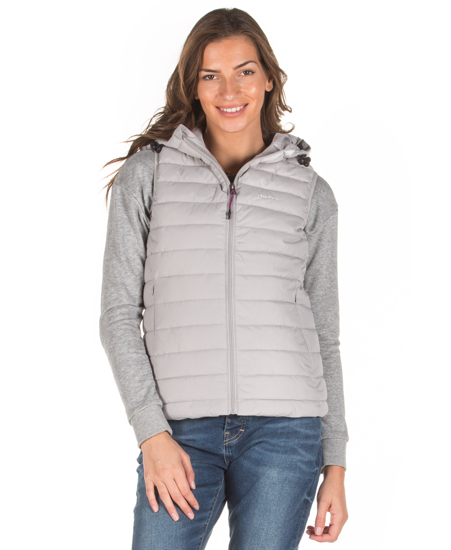 EMERSON HOODED FAKE DOWN QUILTED VEST JACKET 192.EW10.114-RPS ICE Γκρί