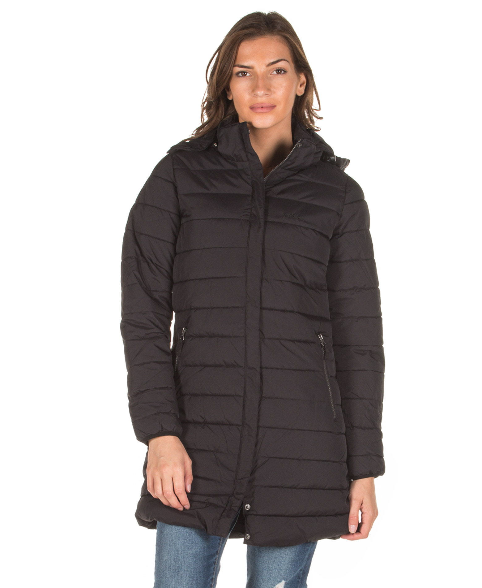 EMERSON DETACHABLE HOOD FAKE DOWN QUILTED LONG JACKET 192.EW10.82-RPS OFF BLACK Μαύρο
