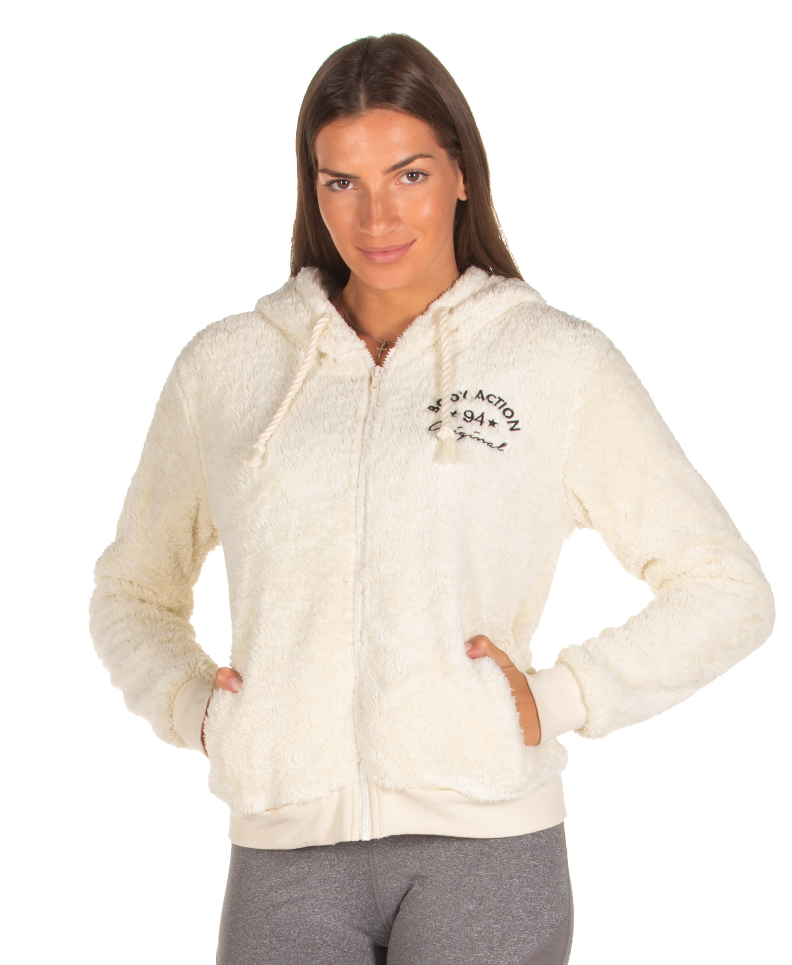 BODY ACTION SHERPA HOODIE 071933-01-05A Γκρί
