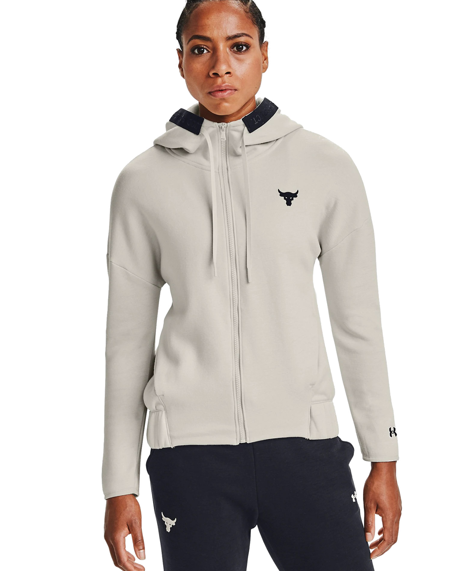 UNDER ARMOUR PROJECT ROCK CC FLEECE FZ SWEAT JACKET 1356958-110 Εκρού